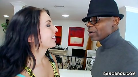 Fingering and getting naked with cute Madelyn Monroe in interracial action