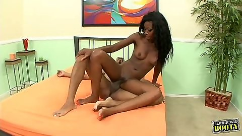 Tight body skinny ebony black cutie Tiffany Crarter sits on dick