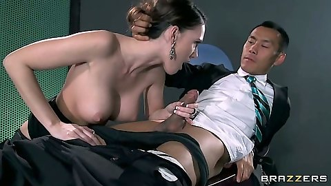 Handjob and big tits blowjob from secretary Jennifer Dark