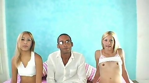 Two sexy petite girls Kat & Leah and big dick Ramone in threesome
