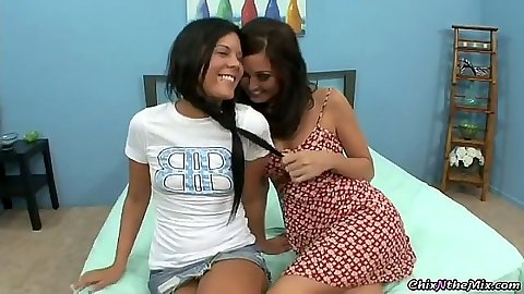 Lesbians Melissa Jacobs & Madison Parker undressing each other