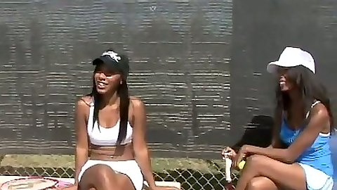 Outdoors ebony sporty tennis bitches Rane & Monica