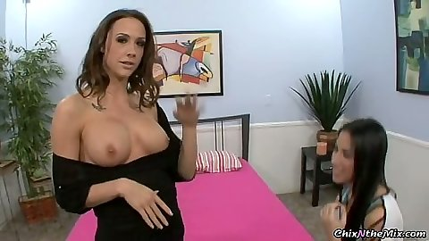 Big tits lesbian bitches stripping each other of clothes Aries Stone & Chanel Preston