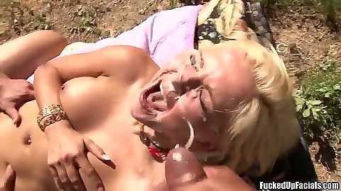 Facial bukkake cumshot with Jenna Lovely getting spermed outdoors