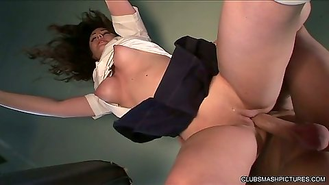 School girl fuck up her uniform skirt with Jennifer White in a bus