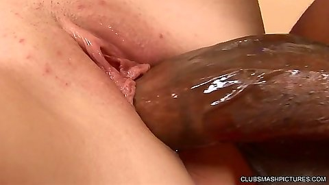 Big dick close up penetration with Savannah Heart in interracial session