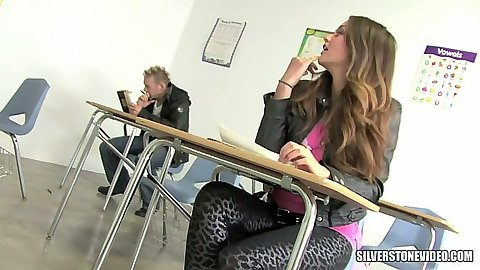 College classroom with Allie Haze all horny for dick