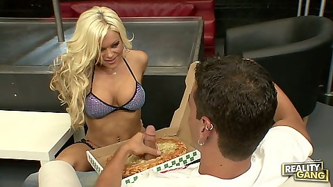 Pizza blowjob from blonde Crista Moore
