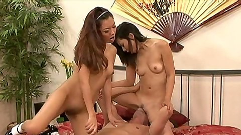 Threesome asian fucking with petite girl Lilly Lana and her friend