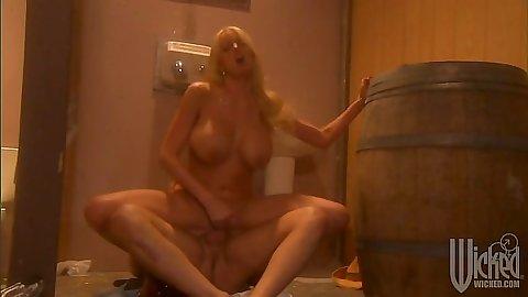 Stormy Daniels reverse cowgirl public toilet sex