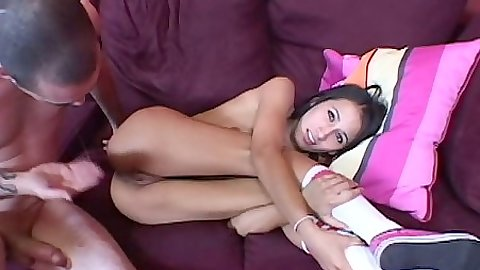 Teen Amia Moretti  sideways enjoying cock entry