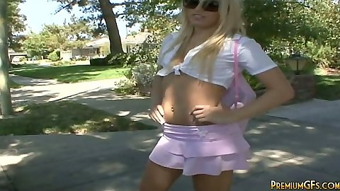 Outdoor miniskirt pickup of Megan and undressing