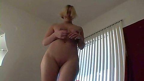Natural tits blonde Crystal pov handjob close up shot