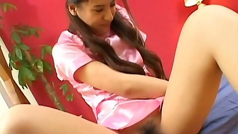 Hairy asian cute teen upskirt vibrator play and licking