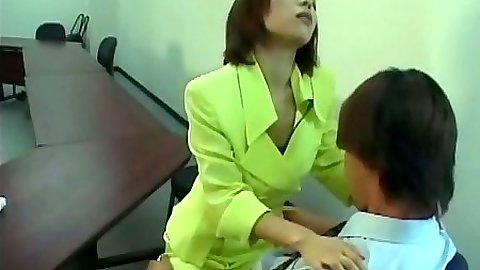 Sexy asian girl fucks dude in office half dressed on desk