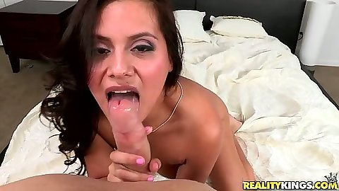Pov latina blowjob with Selma Sins and ass spreading doggy style