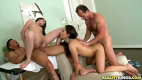 Liona and Aurelly Rebel engage in a group euro fuck with oil on them