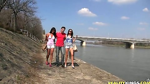 Outdoors by the canal with sexy euro sluts Hanna Sweet and Nia Black in hotpants