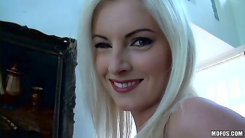 Blonde Bianca in lingerie blowjob and looking like luxury