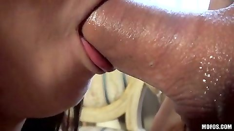 Wet asian blowjob from cum dripping mouth on Marica Hase