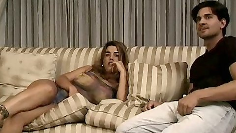 Latina Bionca Trump fully clothed on the sofa blowjob fuck