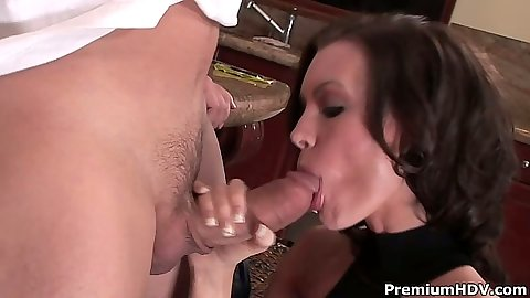 Big dick blowjob with Brandi Edwards trying to fit that massive rod in