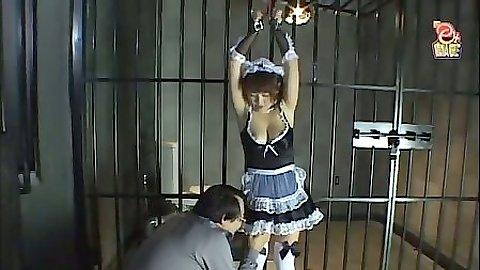 Asian prison bondage of a horny maid with messy fetish
