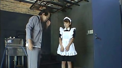 Asian maid in fetish costume scene gets sprayed