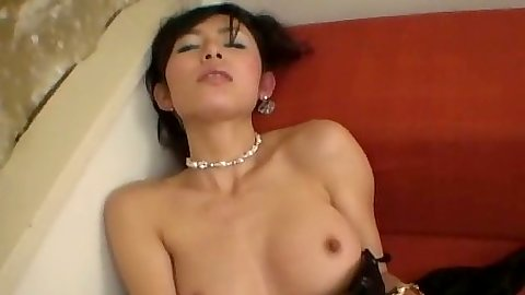 Asian solo girl with hairy pussy in lingerie pleasuring herself solo