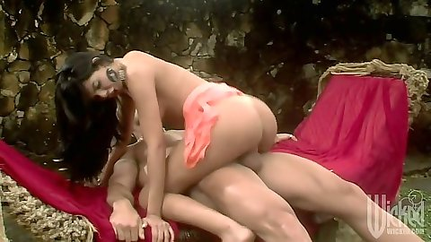 Outdoors half dressed cowgirl cock jumping with Fabiane Thompson