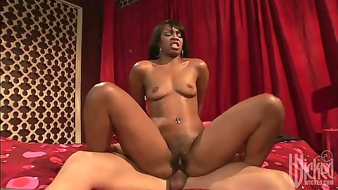 Reverse cowgirl hardcore ebony sex with skinny Vanessa Monet