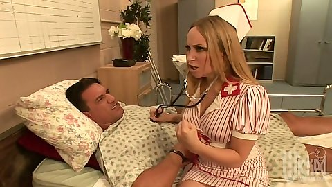 Horny doctor nurse Aiden Starr sucking off patients big dick