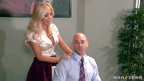 Blonde office fully clothed undressing with Tasha Reign