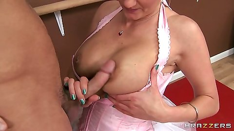 Teacher Zoey Holiday touches penis with her tits for extra credit