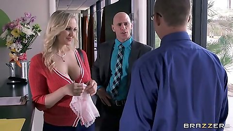 Blonde milf Julia Ann wearing a nice shirt showing her clevage