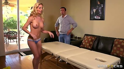 Big tits milf Cherie Deville goes a dirty massage with oil