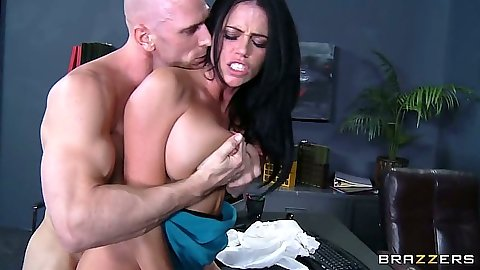 Office slut Aryana Augustine  flips out big tits and does 69 on the desk
