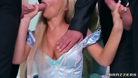 Keiran Lee and Tasha Reign milf blowjob in cinderella dress