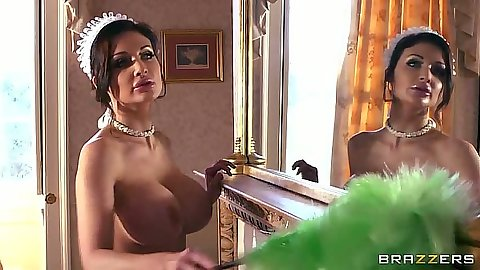 Maid in uniform Aletta Ocean cleaning the house