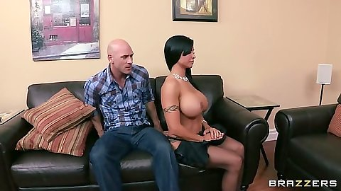 Big tits milf Jewels Jade puts some oil on tits and takes penis from pants