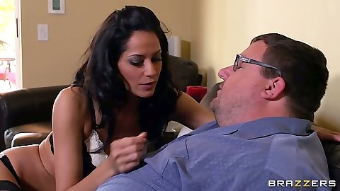Brunette Cassidey half dressed and sucking shaft