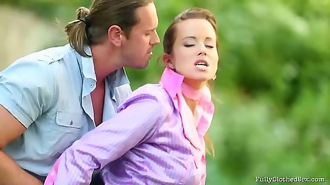 Cindy Dollar fully clothed outdoor blowjob and cowgirl riding dick