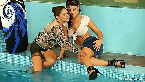 Pool wet girls playing in their clothes
