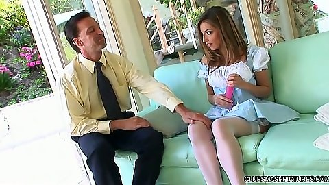 Sexy Jenna Haze in her dress uses dildo on hole
