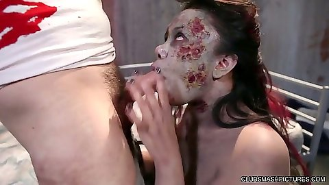 Fetish zombie blowjob with Annie Cruz after end of the world
