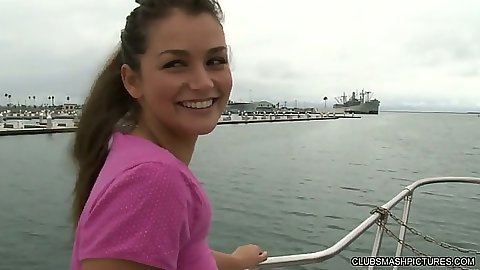 Outdoor teen Allie Haze sucking dick on a boat