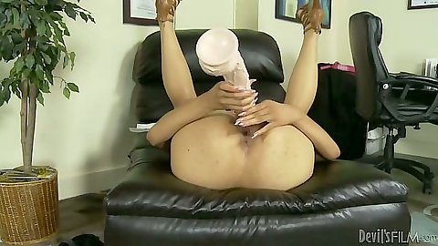 Big dildo solo play with ebony Serena Ali