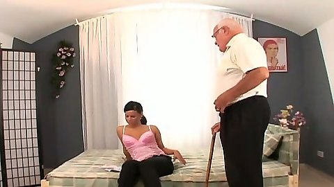 Old man young girl undressing and blowjob sex with Winnie Franco
