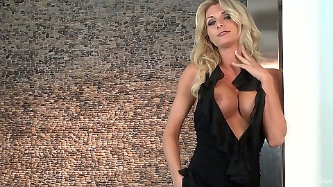 Blonde Alicia Secrets stripping and touching own pussy