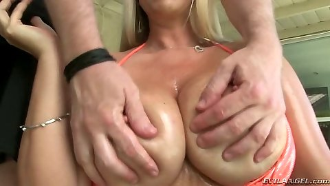 Nice big round tits blowjob and titty fuck close up with Karen Fisher